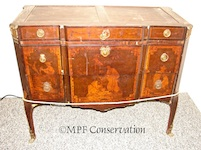 French Oriental Motif Marquetry Empire Revival  Marble Top Chest